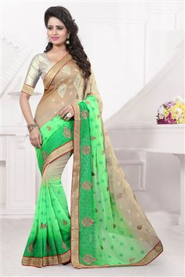 image of Green Color Soothing Georgette Saree