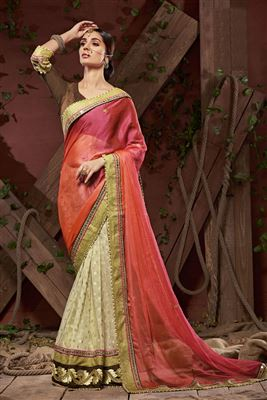 image of Red Designer Satin Saree with Border