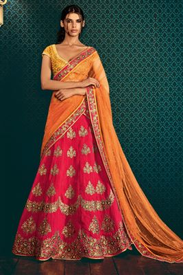 image of Pink And Orange Color Bridal Wear Embroidered Silk Lehenga with Raw Silk Choli