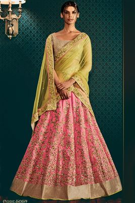 image of Silk Fabric Embroidered Lehenga in Pink And Yellow Color with Lurex Fabric Choli