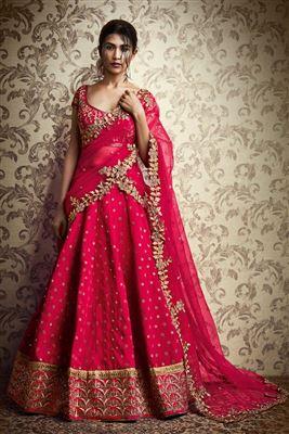 image of Wedding Bridal Embroidered Silk Fabric Lehenga Choli in Pink Color