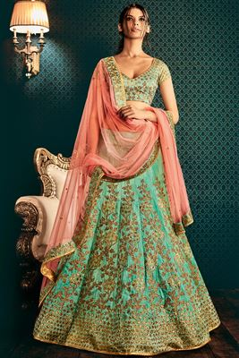 image of Cyan And Pink Color Wedding Bridal Designer Lehenga Choli in Bhagalpuri Fabric