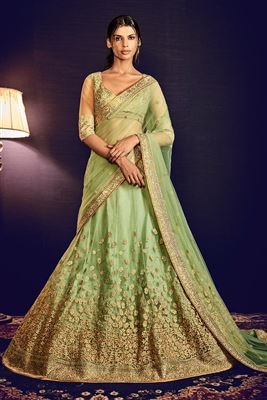 image of Green Color Bridal Wear Embroidered Net Lehenga with Raw Silk Choli