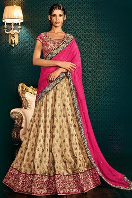 image of Pink-Sky Blue Color Designer Lehenga Choli with Embroidery Work