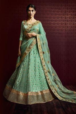 image of Cyan Color Wedding Bridal Designer Lehenga Choli in Net Fabric