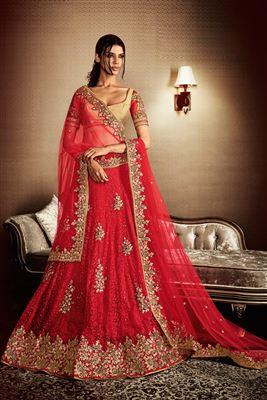 image of Net Fabric Bridal Wear Designer Lehenga Choli in Red Color