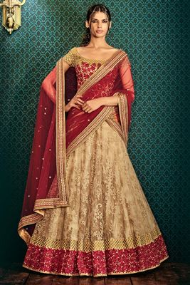 image of Cream And Red Color Bridal Wear Embroidered Velvet Lehenga with Velvet Choli