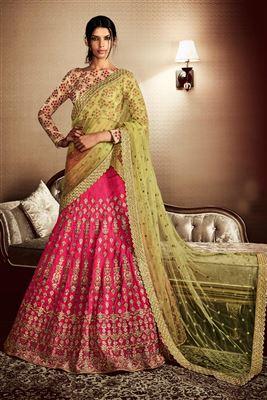 image of Bridal Wear Embroidered Bhagalpuri Fabric Designer Lehenga Choli in Pink And Yellow Color