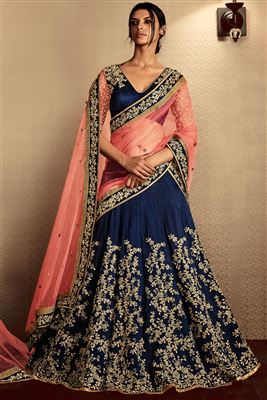 image of Bhagalpuri Fabric Embroidered Lehenga in Blue And Peach Color with Bhagalpuri Fabric Choli