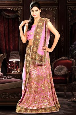 image of Magenta Color Wedding Bridal Embroidered Lehenga Choli in Net Fabric