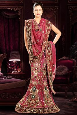 image of Pink Color Georgette-Shimmer Designer Bridal Lehenga Choli