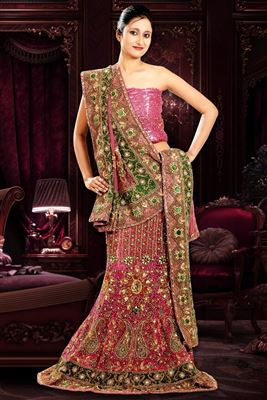 image of Net-Shimmer Party Wear Lavender Color 3 Piece Bridal Lehenga Choli