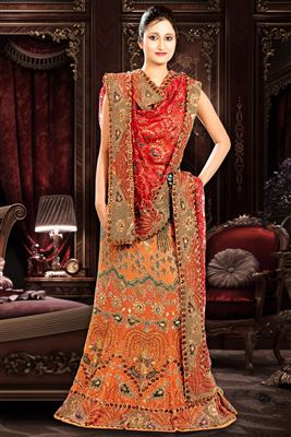 image of Red Color Embroidered Net Lehenga Choli with Thread Work