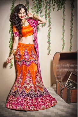 image of Green-Pink Color Designer Festive Wear Embroidered Net Lehenga Choli