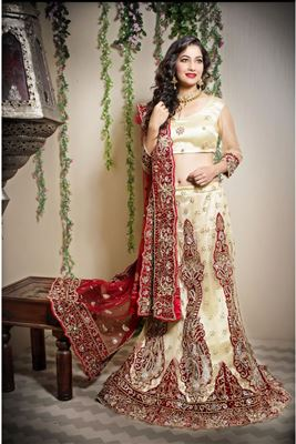 image of Festive Wear Green Color Net Lehenga with Brocade Choli
