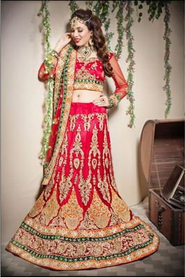 image of Pink Color Wedding Bridal Embroidered Banarasi Silk Lehenga with  Banarasi Silk-Net Fabric Choli