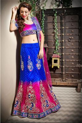 image of Enigmatic Blue Color Net Lehenga