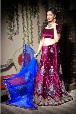 image of Wedding Bridal Net Lehenga Choli In Cream Color with Embroidery