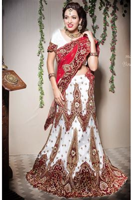 image of Bridal Wear Lavender Color Net-Shimmer Bridal Lehenga