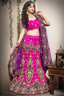 image of Red Color Wedding Bridal Wear Net Lehenga Choli with Embroidery