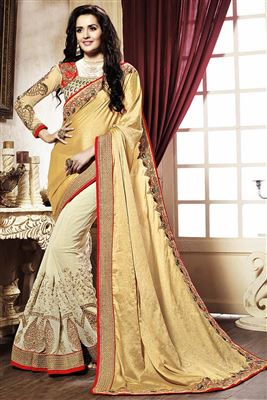 image of Off White-Pink Color Designer Net-Lycra Fabric Lehenga Saree with Embroidery