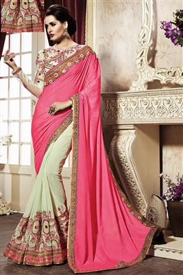 image of Embroidered Red And Cream Color Designer Saree In Georgette And Net Fabric