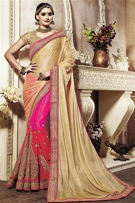 image of Pink Georgette Saree with Pearl Border-6055