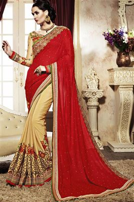 image of Green Party Wear Georgette Saree-278