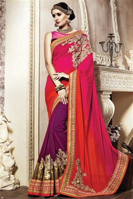 image of Purple-Pink Color Fancy Fabric Embroidered Saree with Dhupion Blouse