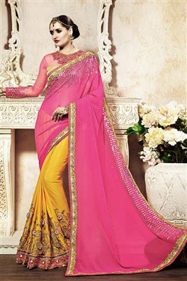 image of Chikoo-Pink Color Designer Georgette-Bemberg Saree with Embroidery