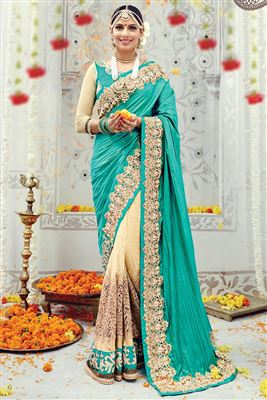 image of Beige-Pink Party Wear Printed Chiffon Saree