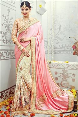 image of Beige-Turquoise Embroidered Designer Saree-7205