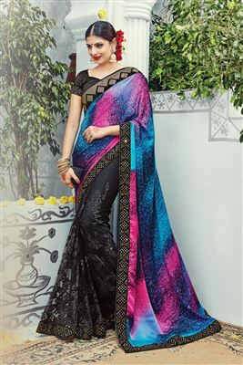 image of Green Silk-Crepe Casual Wear Printed Saree-4011