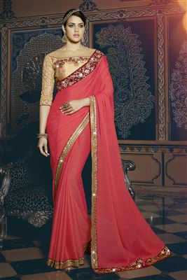 image of Orange And Teal Color Embroidered Designer Saree In Georgette Fabric