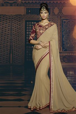 image of Party Wear Pink-Brown Georgette Saree-1402