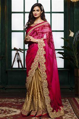 image of Black-Cream Embroidered Designer Jacquard-Net Sari