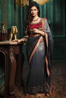 image of Glimmering Cream And Pink Color Jacquard Saree