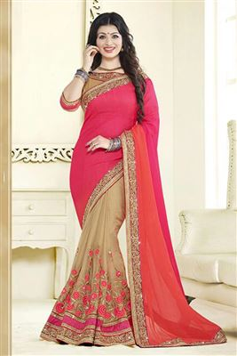 image of Urvashi Rautela Grey-Pink Lycra-Net Saree-9011