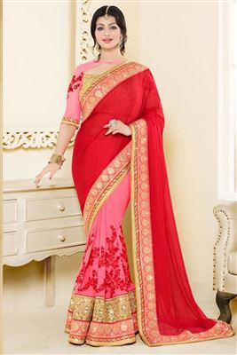 image of Ayesha Takia Pink-Red Color Half-Half Designer Silk-Chiffon Saree