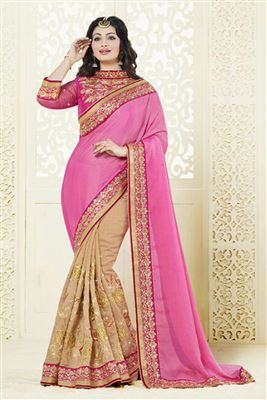 image of Ayesha Takia Half n Half Designer Silk-Chiffon Saree in Pink-Red Color