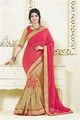 image of Ayesha Takia Pink-Cream Color Half-Half Saree in Net-Chiffon Fabric