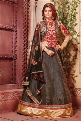 image of Attractive Mehendi Green Color Designer Lehenga