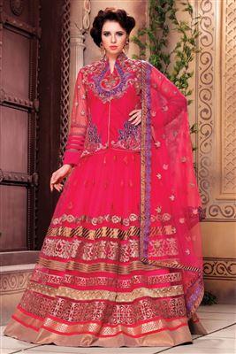 image of Pink Color Designer Net Lehenga Choli with Embroidery