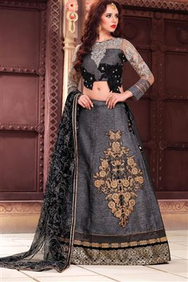 image of Lenitive Fancy Fabric Designer Lehenga Choli in Coffee Color