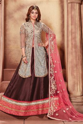 image of Net Fabric Embroidered Lehenga Choli in Pink Color