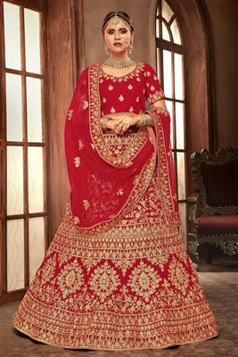 fc16a3673d image of Salmon Color Designer Embroidered Lehenga Choli In Art Silk Fabric  With Alluring Blouse