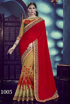 image of Party Wear Designer Jacquard-Georgette Saree In Cyan-Cream Color