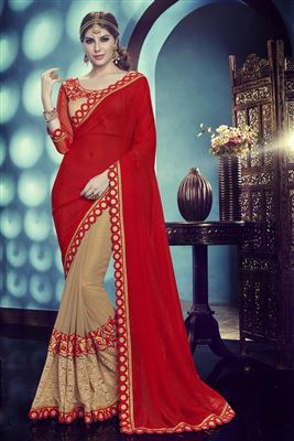 image of Artistic Red-Orange Color Embroidered Chiffon Party Wear Saree