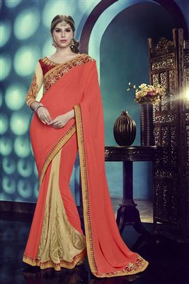 image of Designer Beige-Blue Color Saree in Lycra-Net Fabric with Embroidery