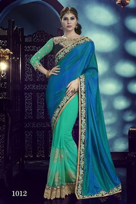 image of Art Silk Party Wear Saree with Double Blouse-2067